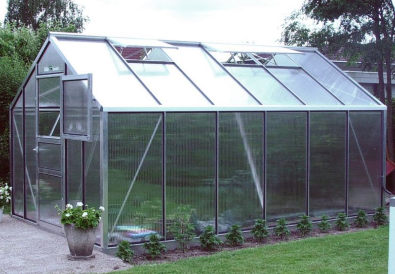 Model 9x14 - Premium Greenhouse - Aluminium Frame + Polycarbonate Glazing + Base