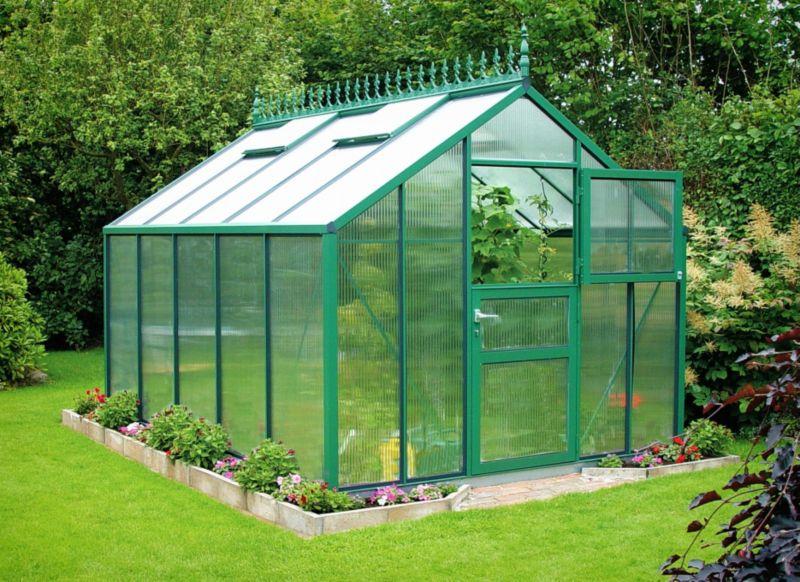 Model 9x10 - Premium Green Greenhouse - Green Aluminium Frame + Horticultural Glass + Base
