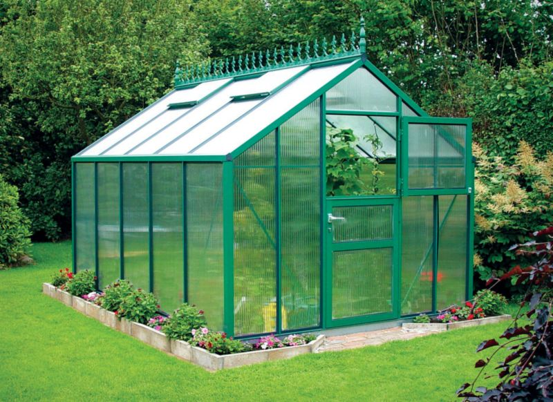 Model 9x14 - Premium Green Greenhouse - Green Aluminium Frame + Horticultural Glass + Base