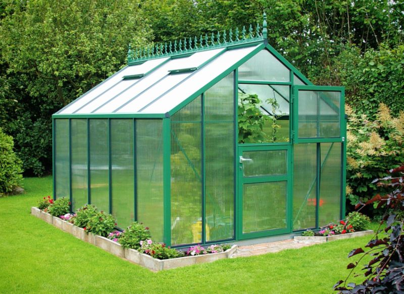 Model 9x12 - Premium Green Greenhouse - Green Aluminium Frame + Polycarbonate Glazing + Base