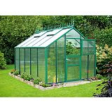 Save on this Model 9x12 - Premium Green Greenhouse - Green Aluminium Frame + Polycarbonate Glazing + Base