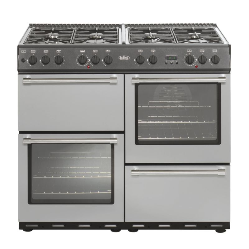 Belling Dual Fuel Country Classic Range Cooker SilverAnthracite 100cm 100DF