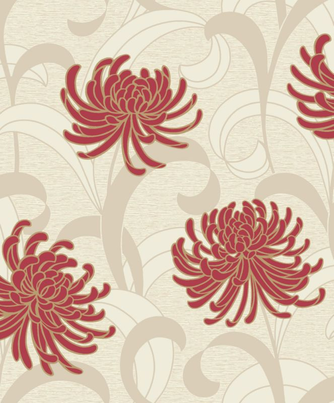 Snow Kite Wallcovering Red/Cream 7.5m M0163