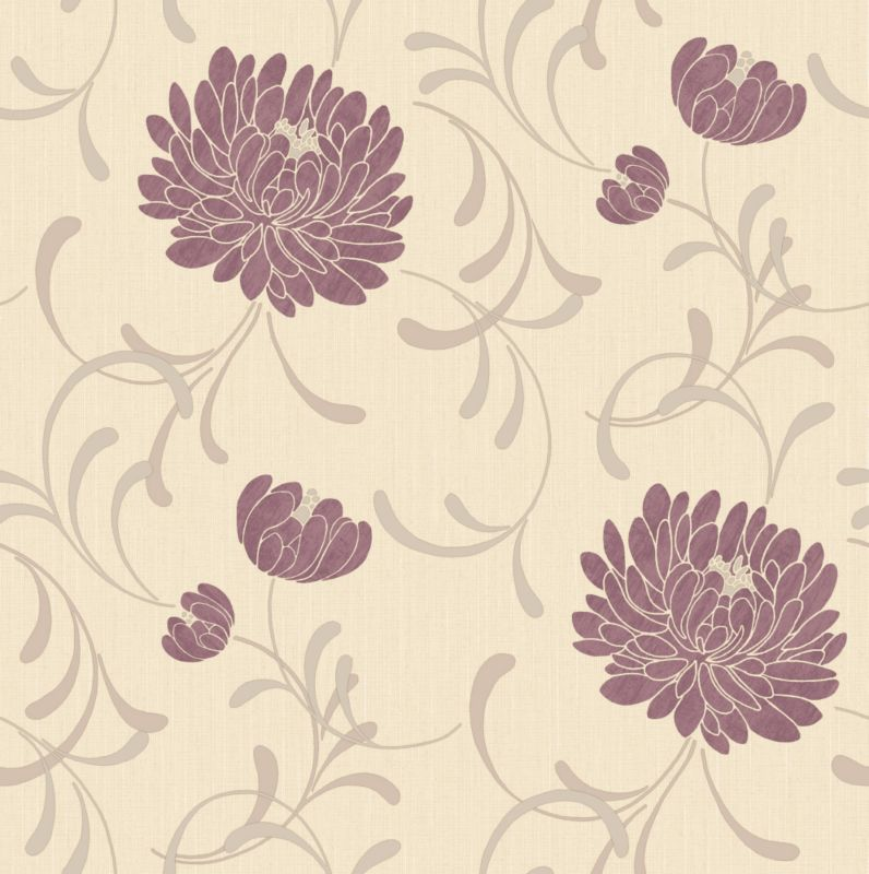 Linen Floral Wallcovering Cranberry 10m
