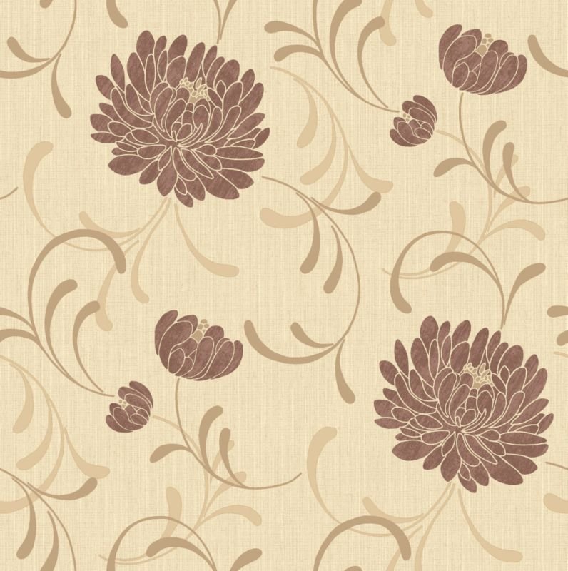 Linen Floral Wallcovering Chocolate 10m