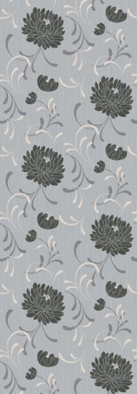 Linen Floral Wallcovering Grey/Black M0194