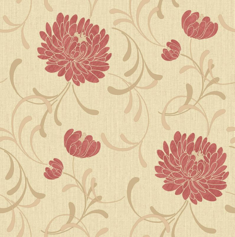Linen Floral Wallcovering Red/Biscuit 10m