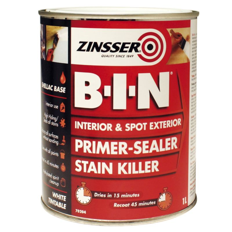 Zinsser Bin Shellac Base Primer Sealer White 1L