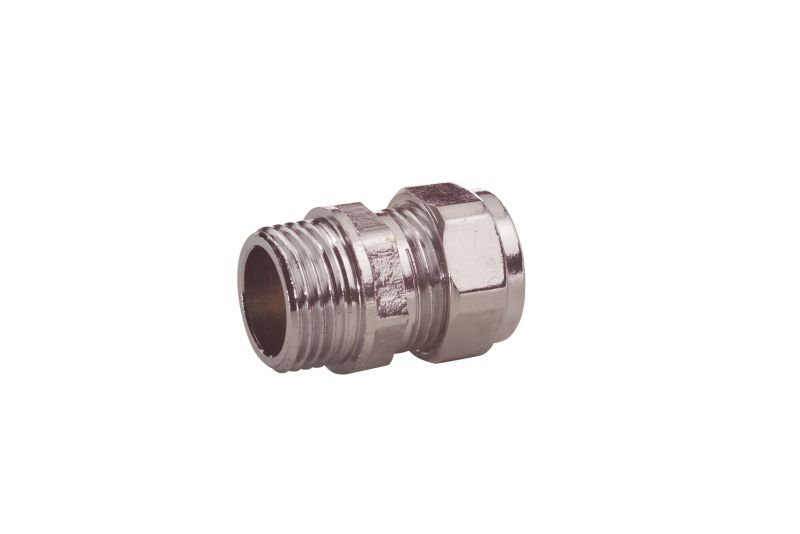 Compression Straight Connector Chrome 15mm x 1 2 Inch (Male)