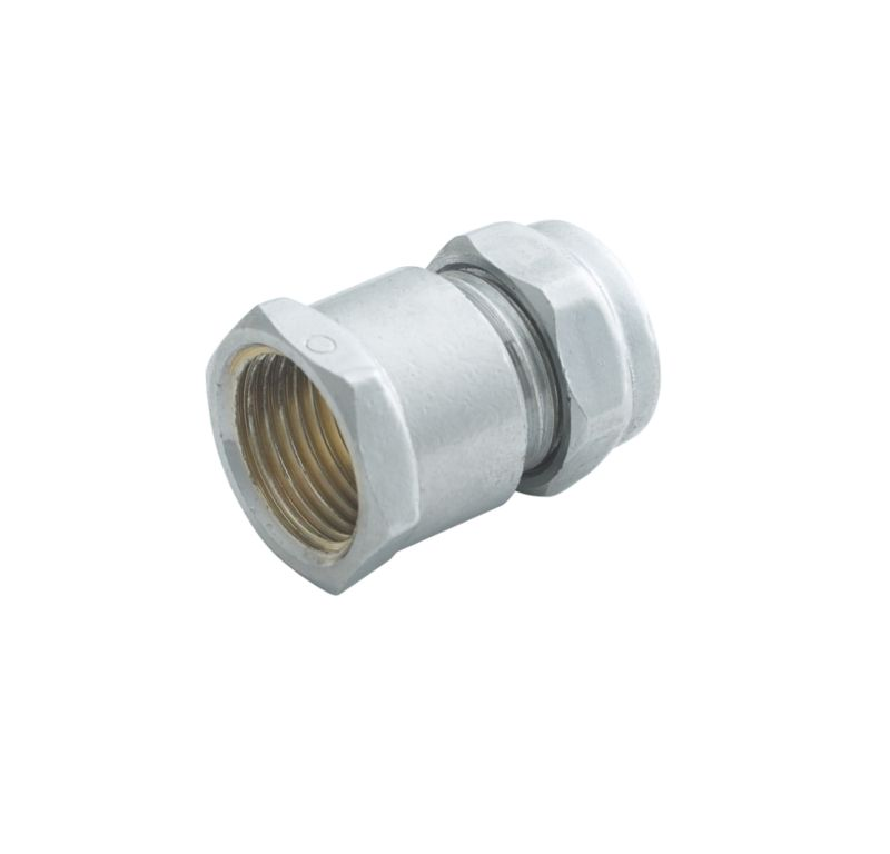 Compression Straight Connector Chrome 15mm x 1 2 Inch (Female)