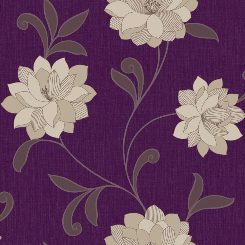 Cashback arthouse vintage valencia wallpaper purple 1m by for B q living room wallpaper