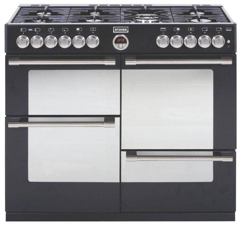 1000mm Dual Fuel Range Cooker 7 x Burners WOK Black
