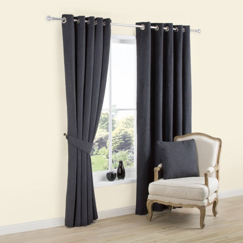 Colours Carina Eyelet Lined Textured Woven Curtains In