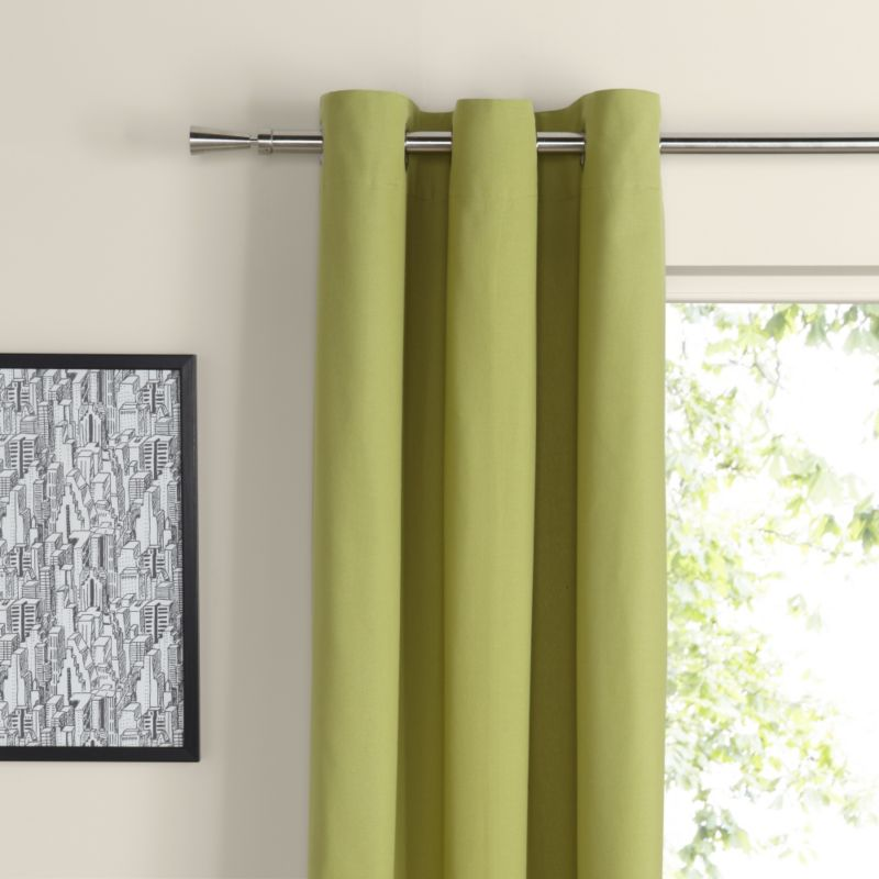 Eyelet Unlined Cotton Curtains in Lime Blossom