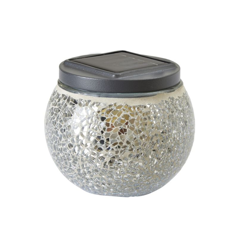 Eaton Silver Mosaic Solar Table Light