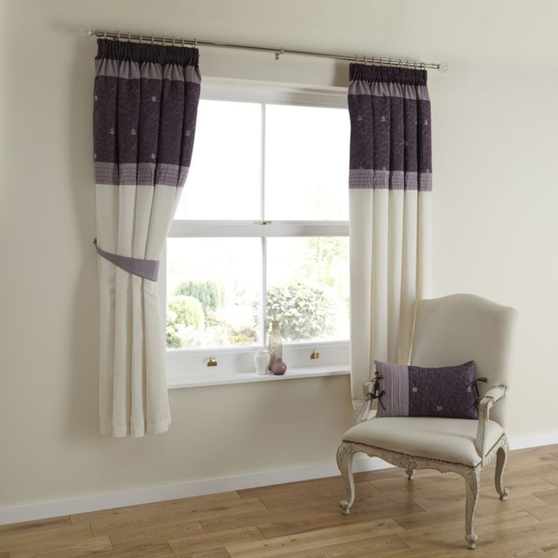Amy Eyelet Lined Curtains in Purple (H)183 x
