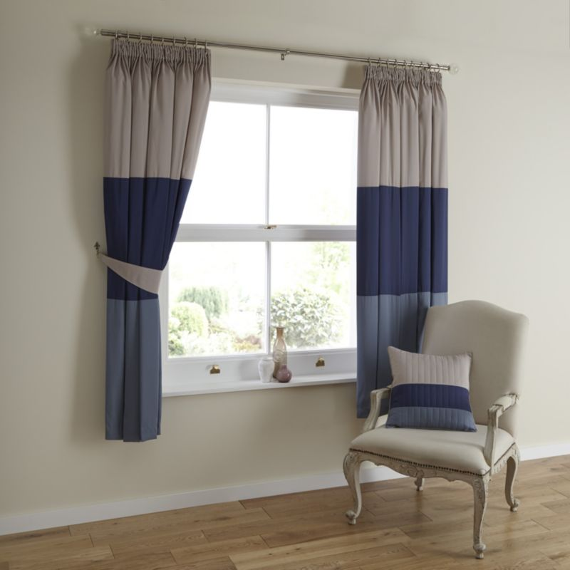 Boston Eyelet Lined Curtains in Blue (H)183 x
