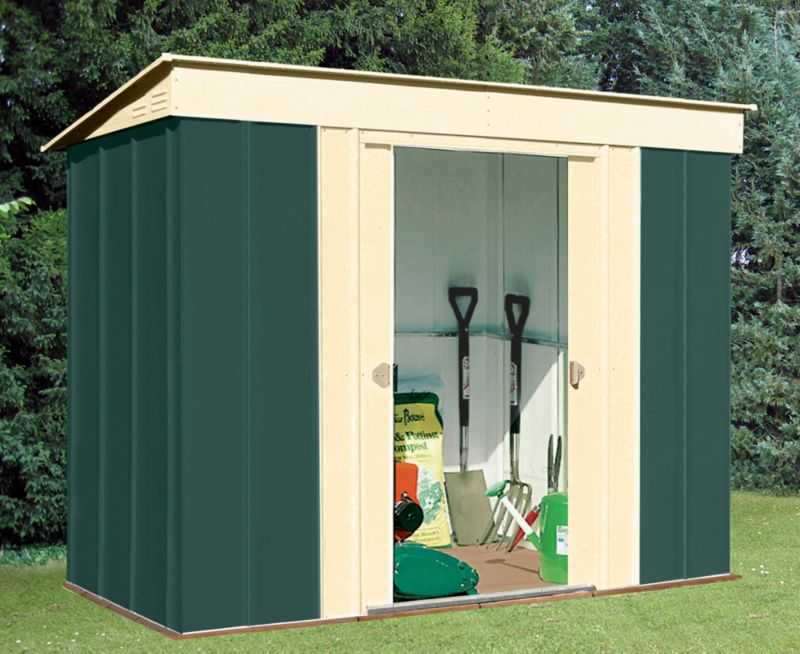 Canberra Pent Shed 8x4ft Green & Cream