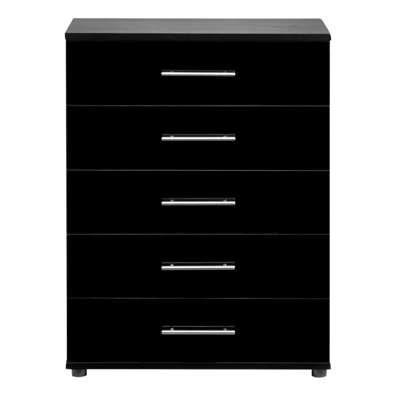 Perla 5 Drawer Chest Black Gloss & Oak Effect