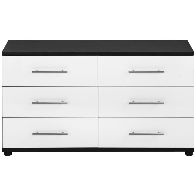 Perla 6 Drawer Chest White Gloss & Oak Effect