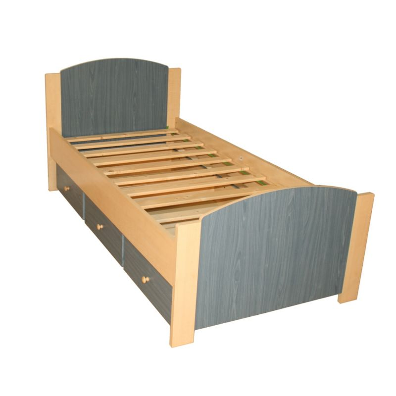 Happy Single Bed Maple & Blue