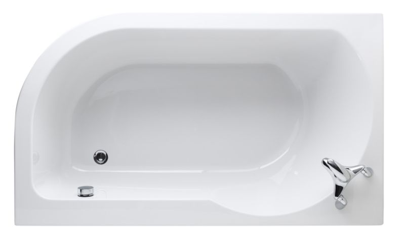 Left-Handed Loft Acrylic Shaped Bath White