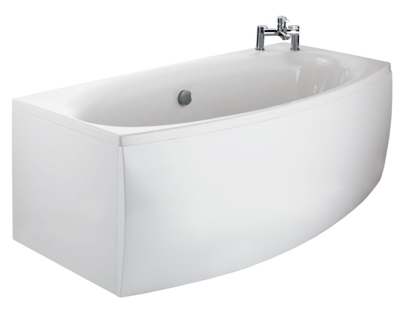 Restful Shaped Acrylic Bath End Panel White