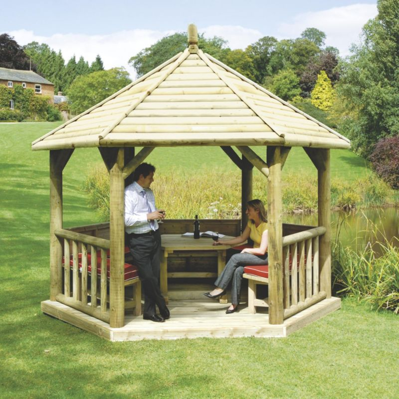 Premium Timber Roof Gazebo Green Waterbased