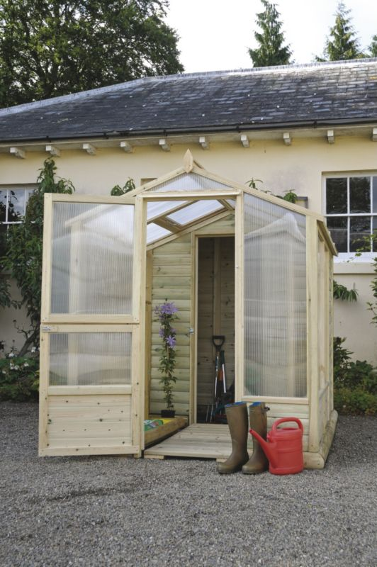 Model 6x6 - M&M Timber Bayton Duo Greenhouse