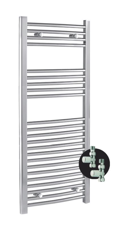 Kudox Curved Chrome Towel Rail with Valves 1100
