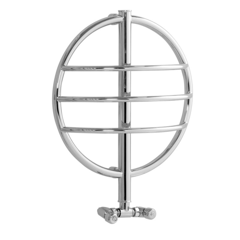 Disq 1 Ring Hydronic Towel Rail Chrome Plated (H)610 x (W)290 x (D)600mm