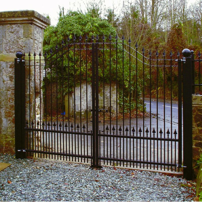 Ornamental Arch Top Gate Set Black (W)3.6m