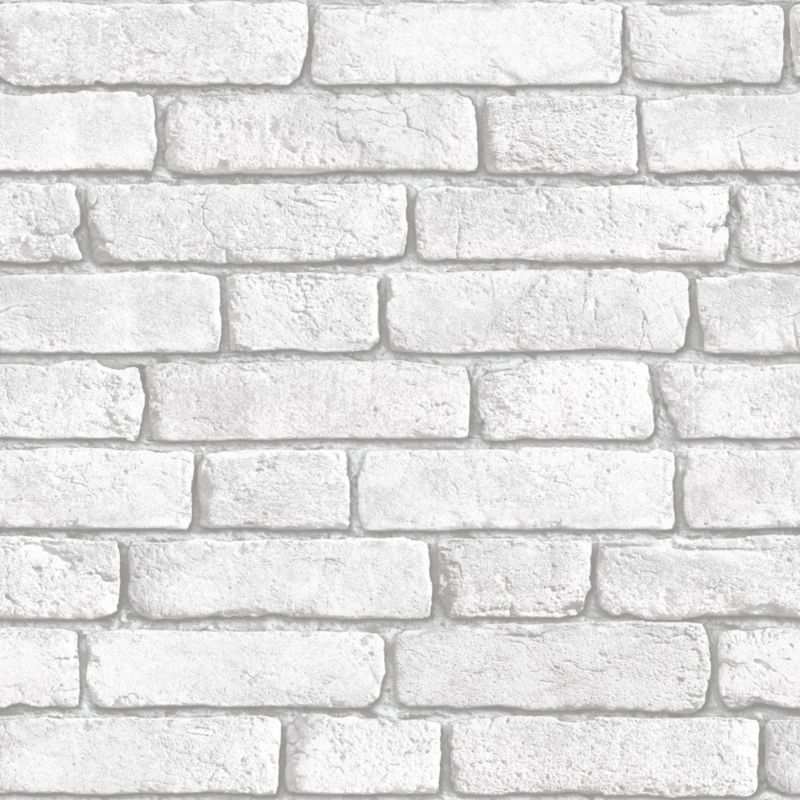 brick wallpaper in white with a vinyl finish by muriva