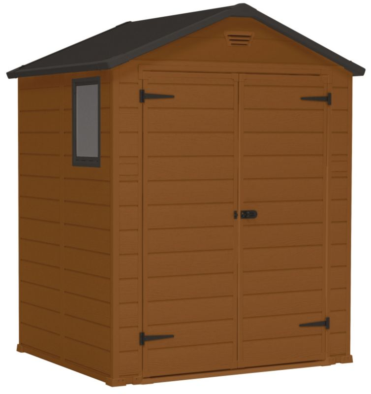 B q blooma 6x5 brown plastic double door shed customer - Brown plastic garden sheds ...