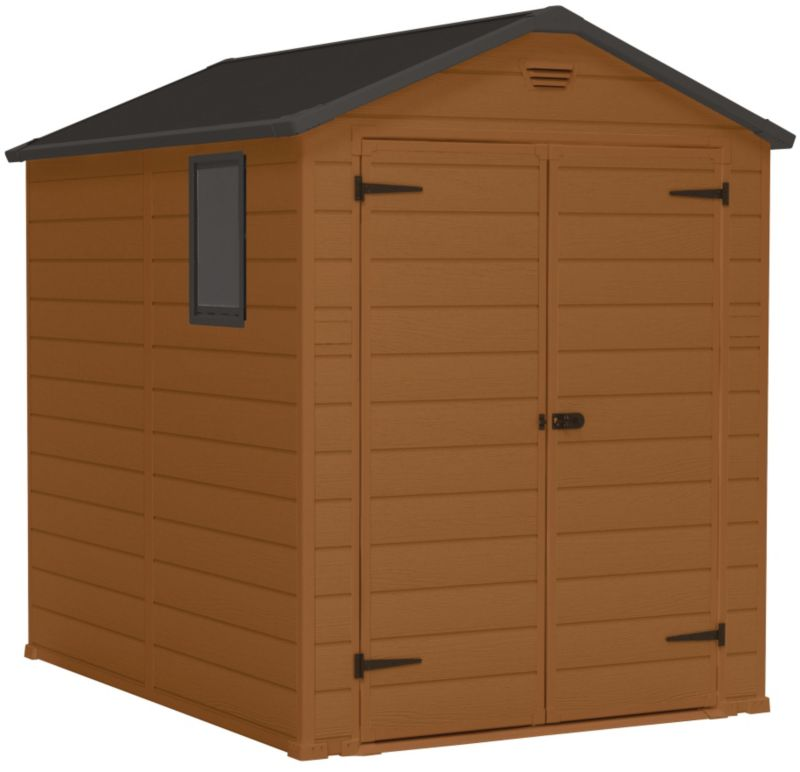 Blooma 8' x 6' Brown Plastic Double-Door Shed