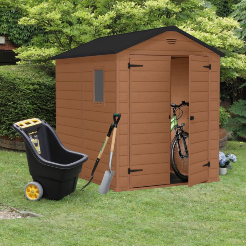 Blooma 8x6 Brown Plastic Double Door Shed