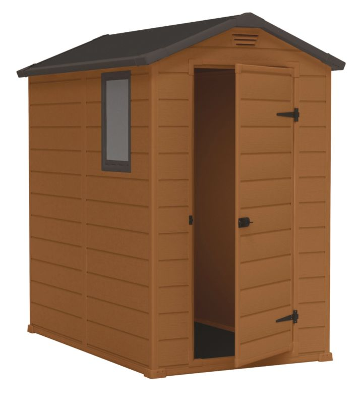 Blooma 6 4 brown plastic shed customer reviews product - Brown plastic garden sheds ...