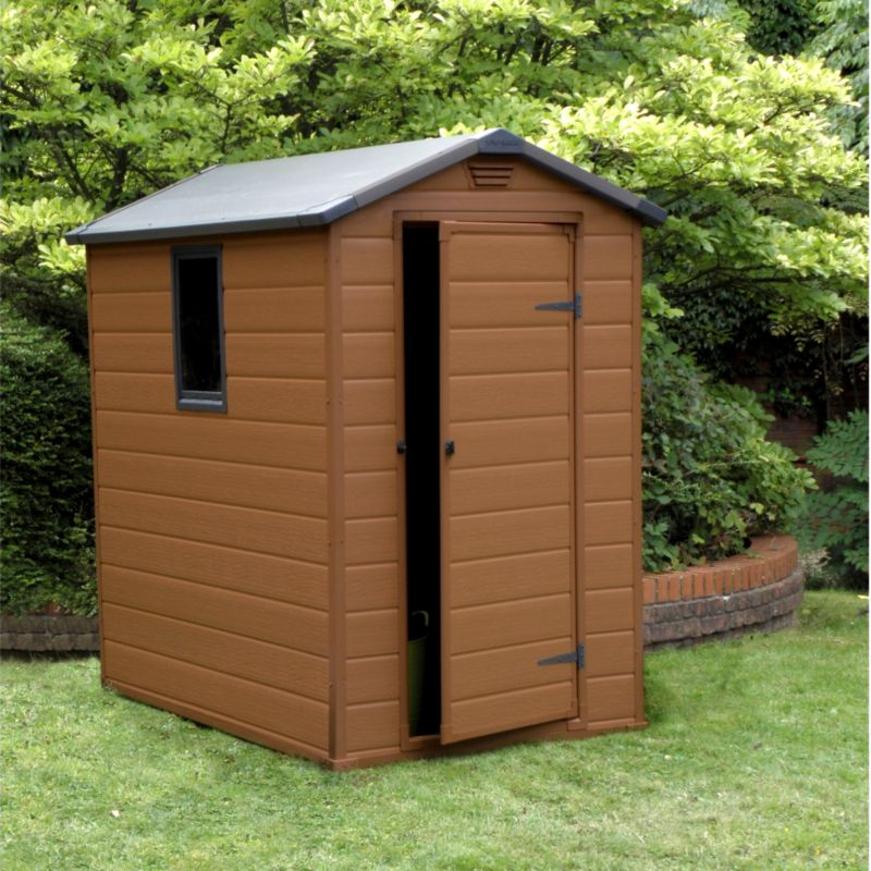 blooma 6x4 brown plastic shed customer reviews product reviews - Garden Sheds Homebase