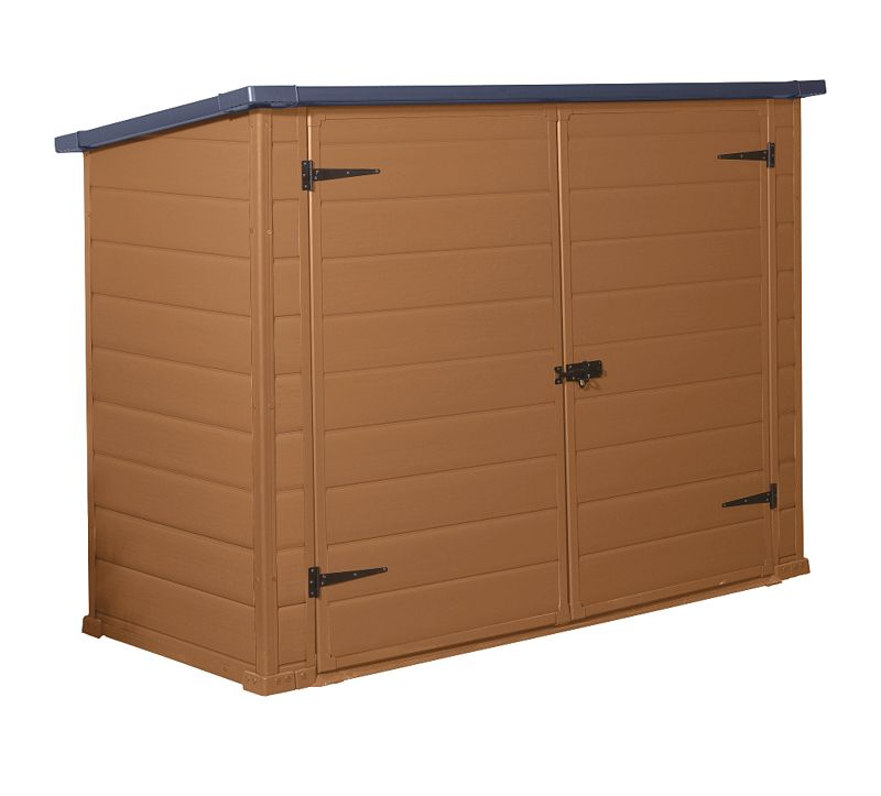 ... about the Blooma 7x3 Plastic Bike Shed Brown - Home Delivered