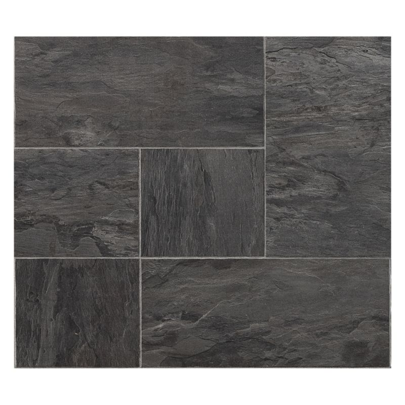 Colours Libretto Black Slate Tile Effect Laminate Flooring