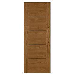 Flush 5 panel internal door oak veneer with aluminium for 1 panel inlaid oak veneer door
