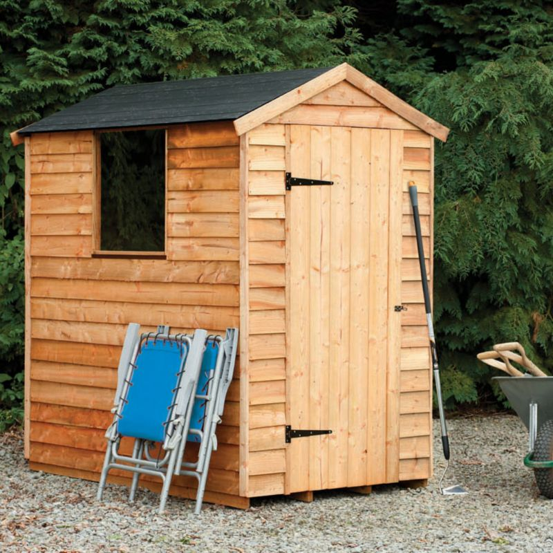 Image For Blooma 6x4 Overlap Wooden Shed With Plastic Roof Home Delivered Embly At B