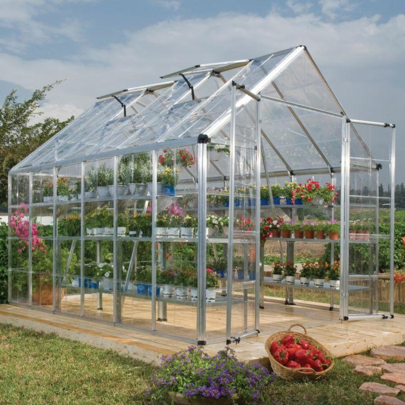 Model 8x12 Snap & Grow Double Door Greenhouse - Aluminium Frame + Base + Polycarbonate Glazing