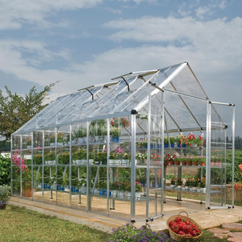 Model 8x16 Snap & Grow Double Door Greenhouse - Aluminium Frame + Base + Polycarbonate Glazing