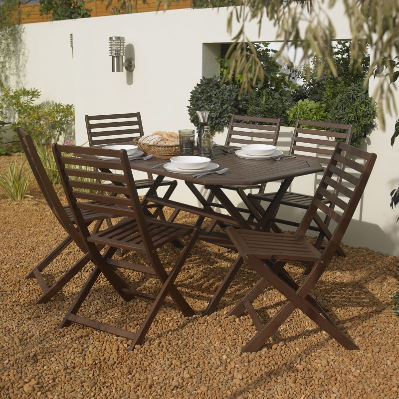 BandQ Romsey Dining Set - Table and 6 Chairs