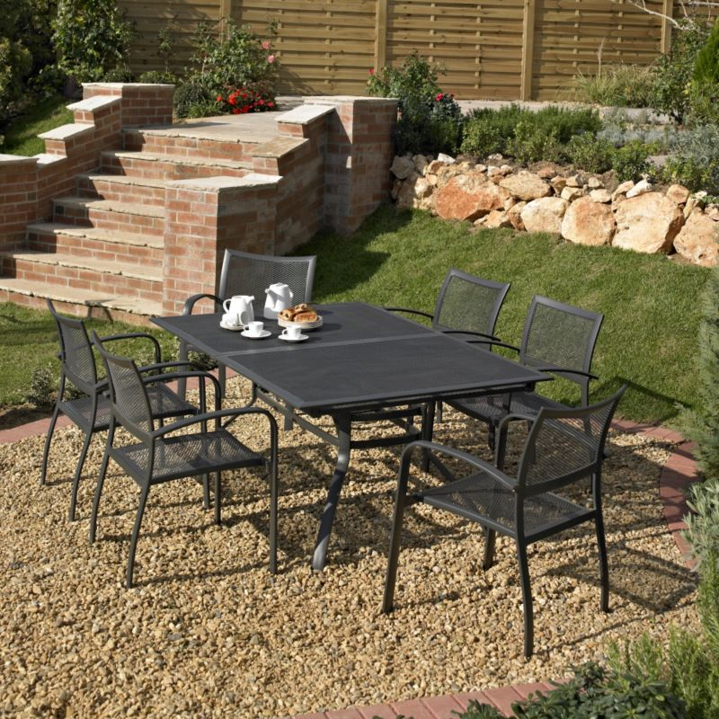 BandQ Boston Dining Set - Extending Table and 6