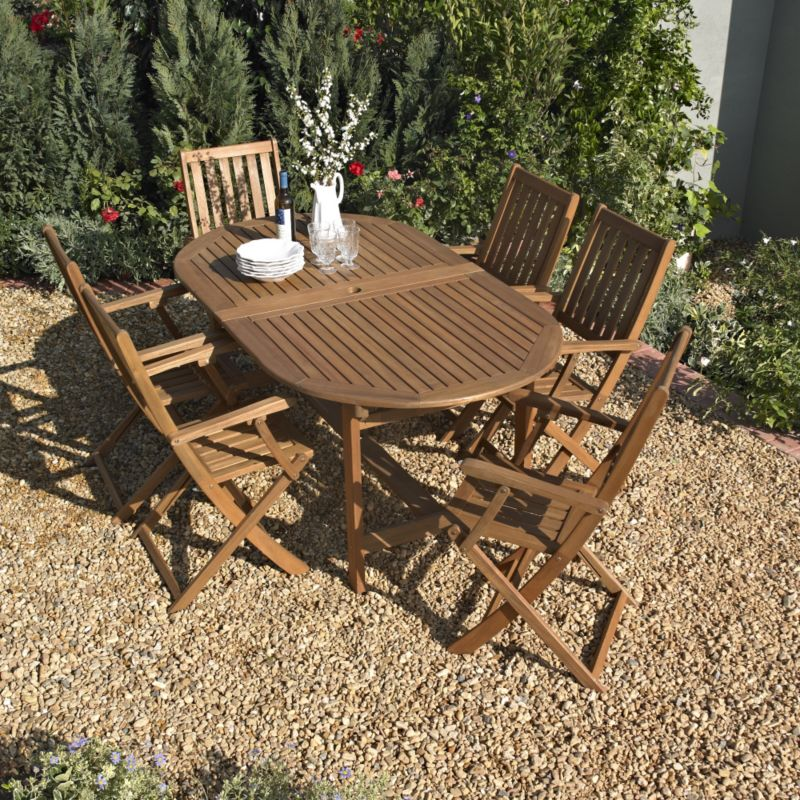 BandQ Chichester Dining Set - Oval Extending