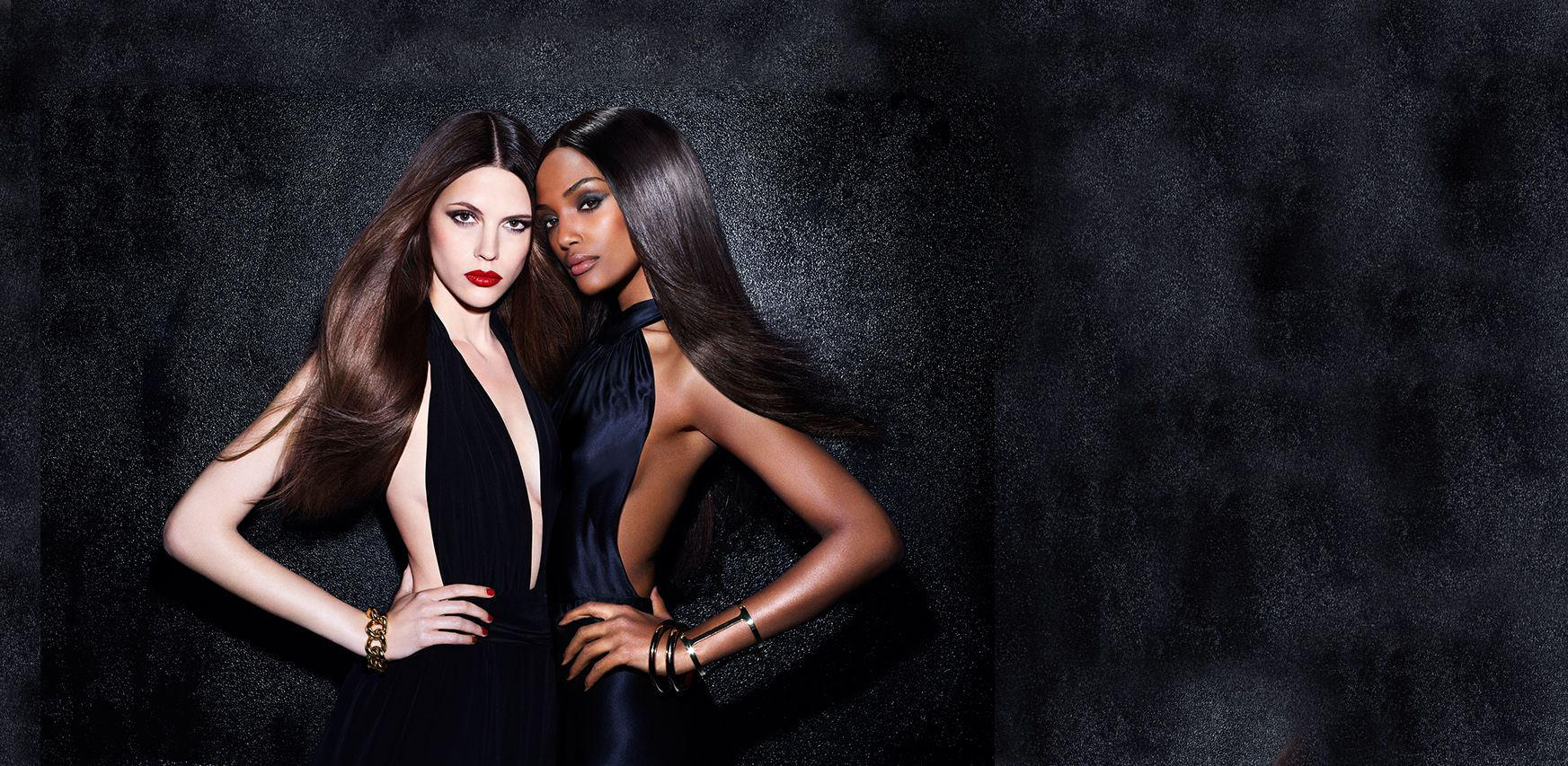 Dual Stylers model images with sleek hair