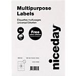 niceday Multifunktionsetiketten mit geraden Ecken Weiß 105 x 74 mm 100 Blatt