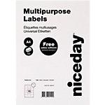 niceday Multifunktionsetiketten mit geraden Ecken  Weiß 70 x 50,8 mm 100 Blatt